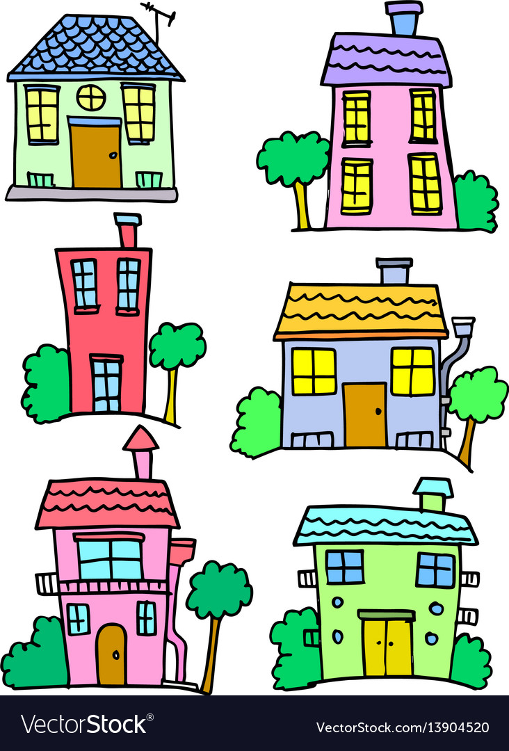 Doodle of house set hand draw vector image