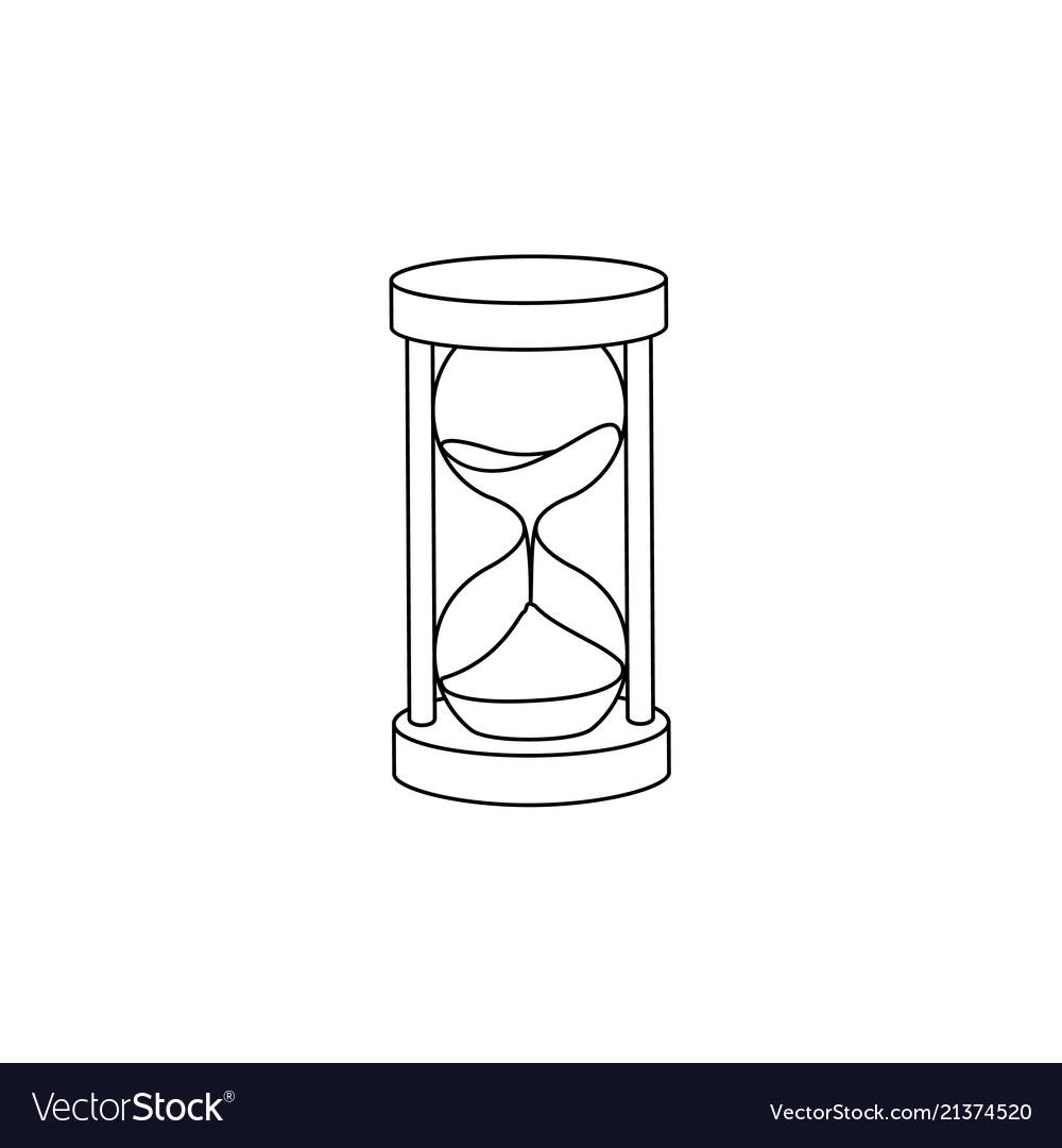 Flat vintage sandglass hourglass icon