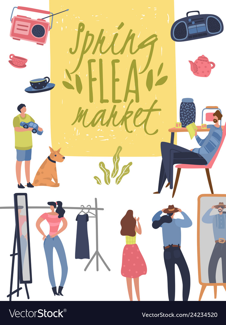 Flea market poster fashionable shopping second
