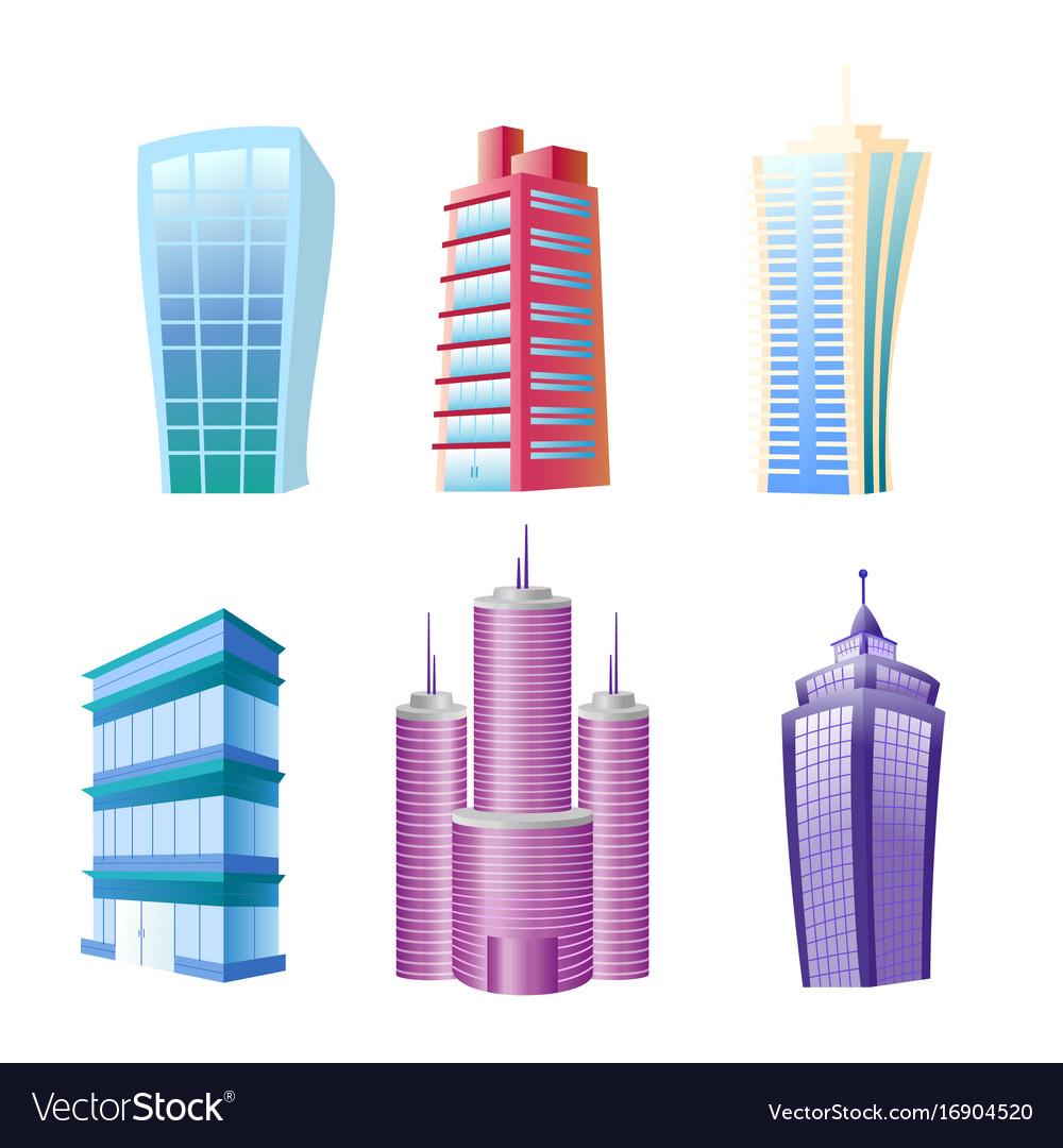 Funny modern buildings set vector image