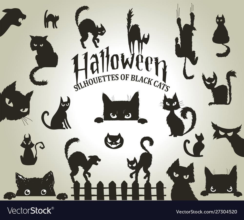 Halloween decorative silhouettes black cats