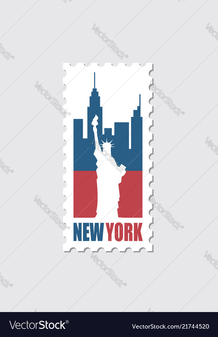 Postage stamp with statue of liberty