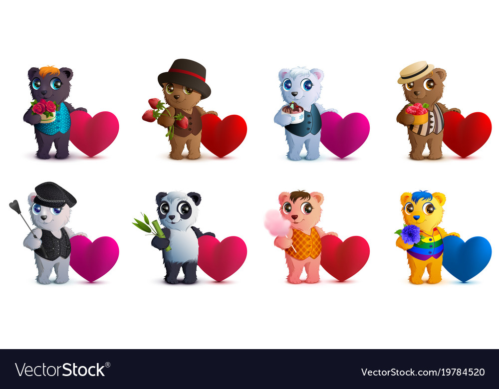 Set bear and valentine heart shape symbol of love