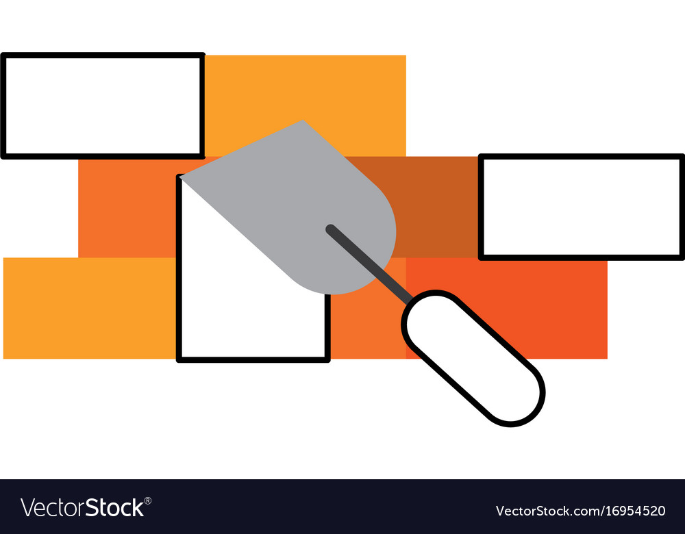 Spatula tool with bricks wall vector image
