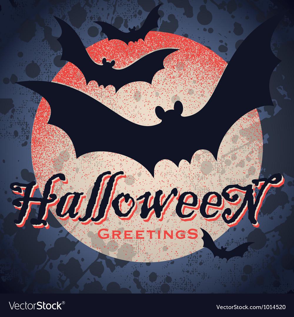 Vintage grungy Halloween design vector image