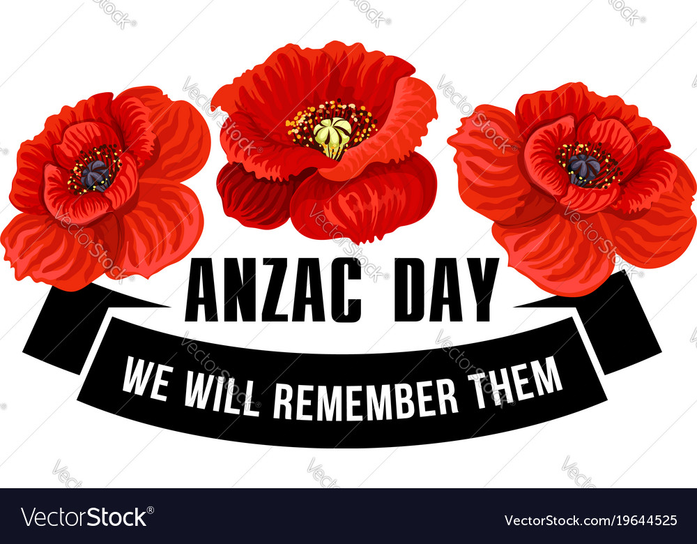 Anzac day icon of poppy flower with black ribbon vector image mightylinksfo
