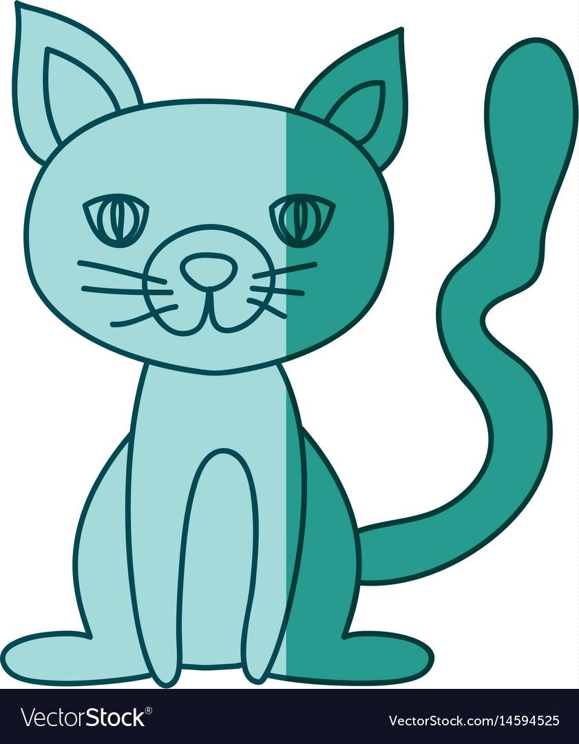 Aquamarine hand drawn silhouette of cat sitting