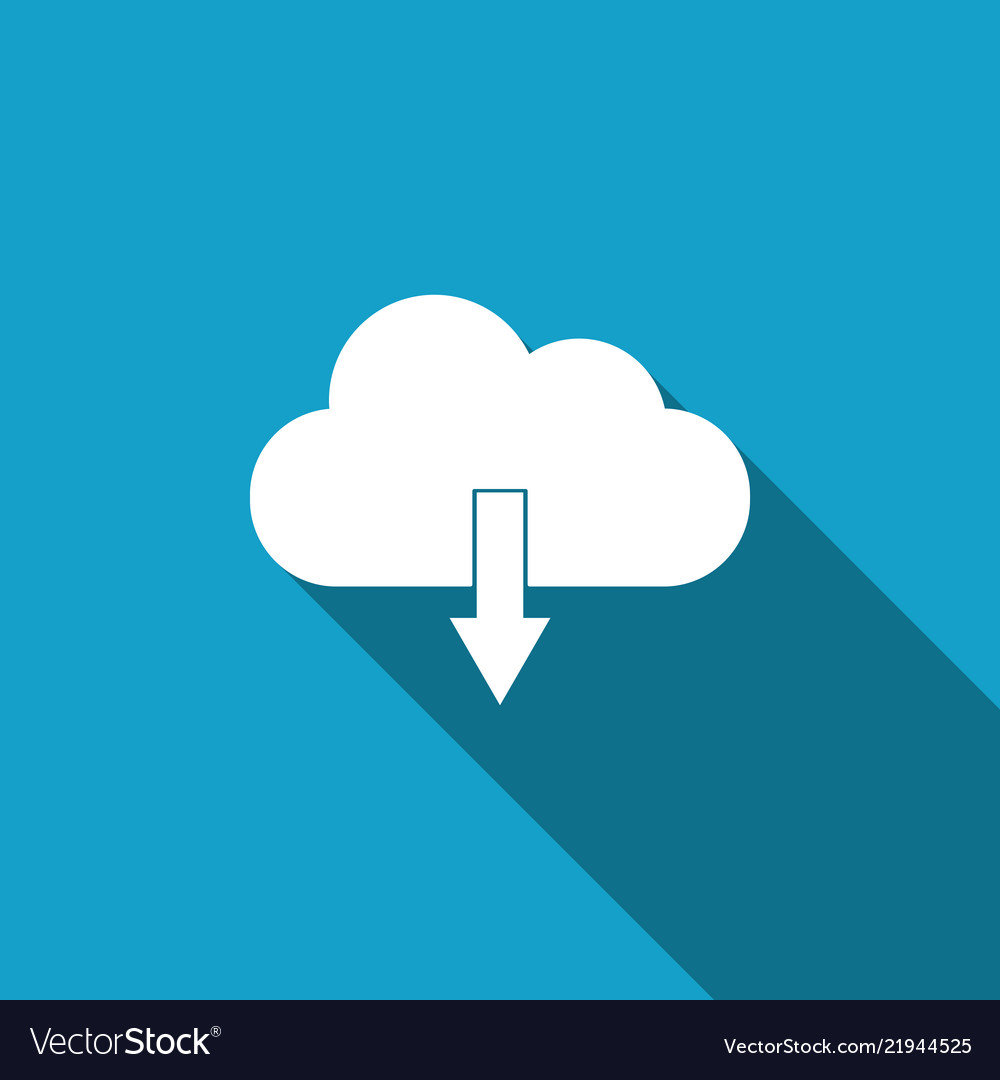 Cloud download icon isolated with long shadow