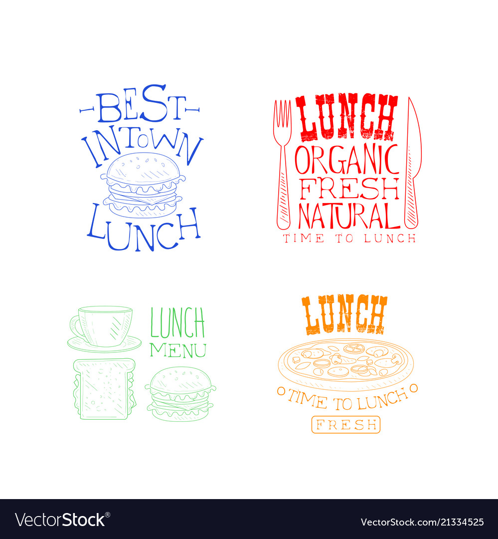 Creative hand drawn lunch logos organic and tasty