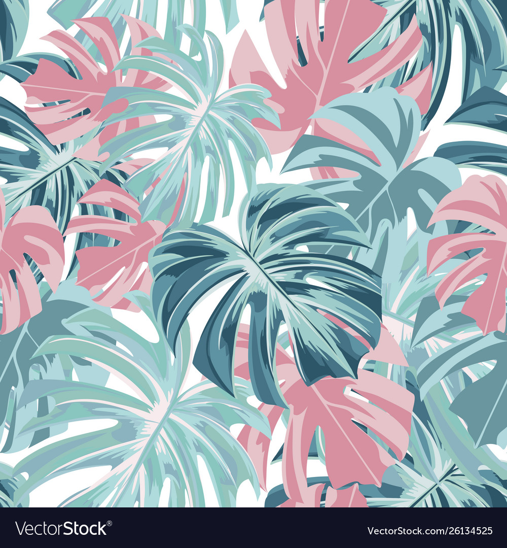 Floral seamless tropical pattern with leaves