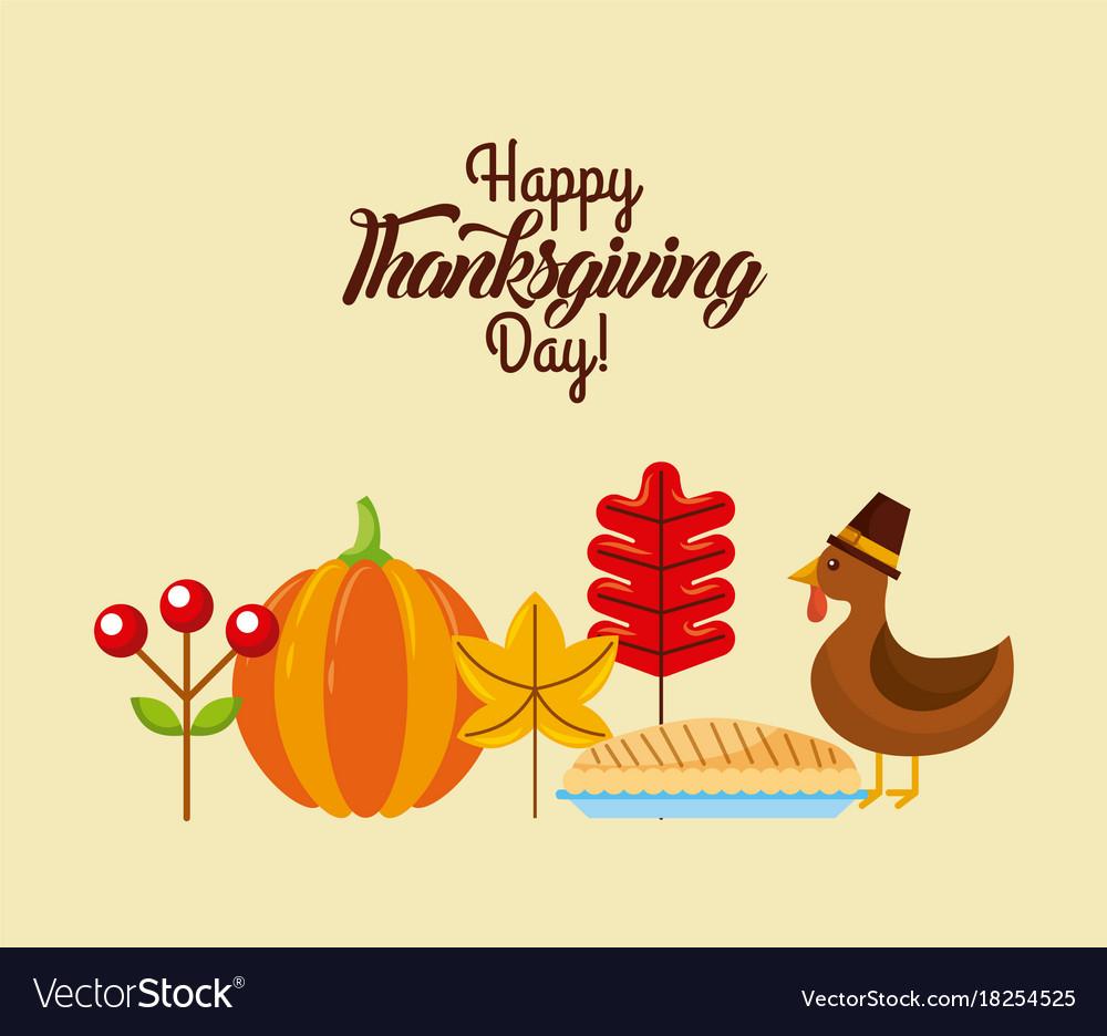 Happy thanksgiving day poster dinner menu cake