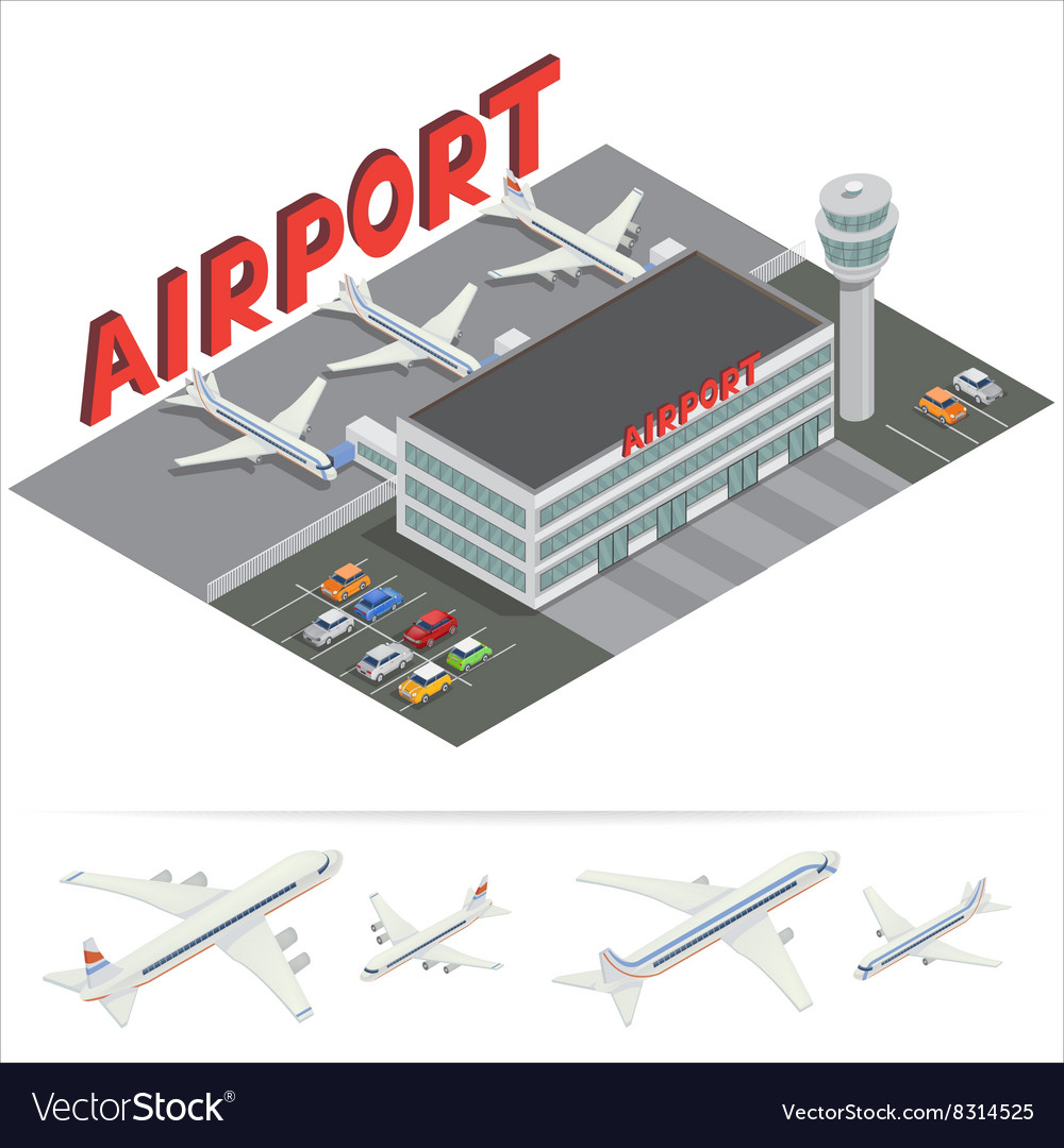 Isometric airport building terminal airplane