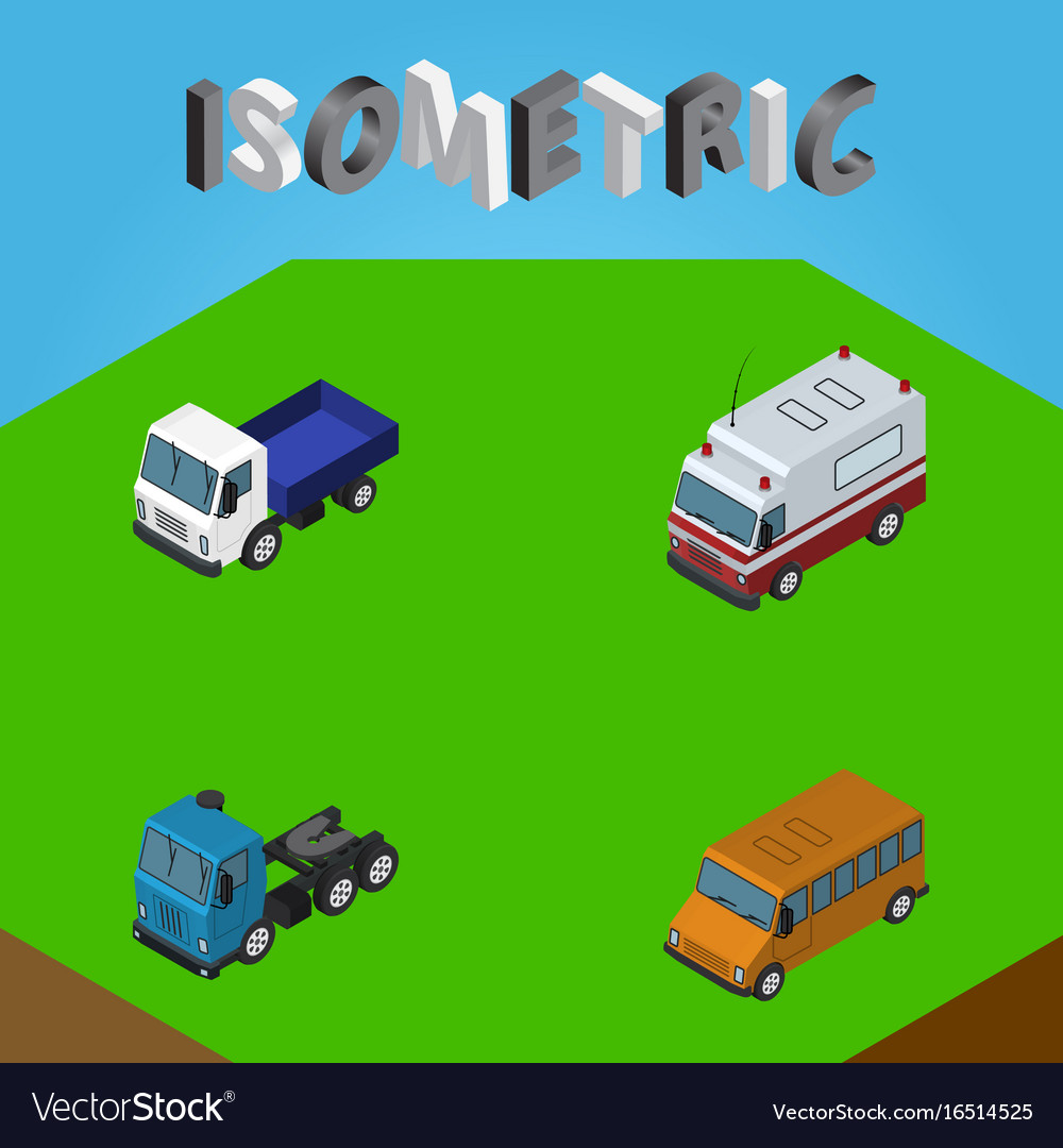 Isometric automobile set of lorry truck first vector image