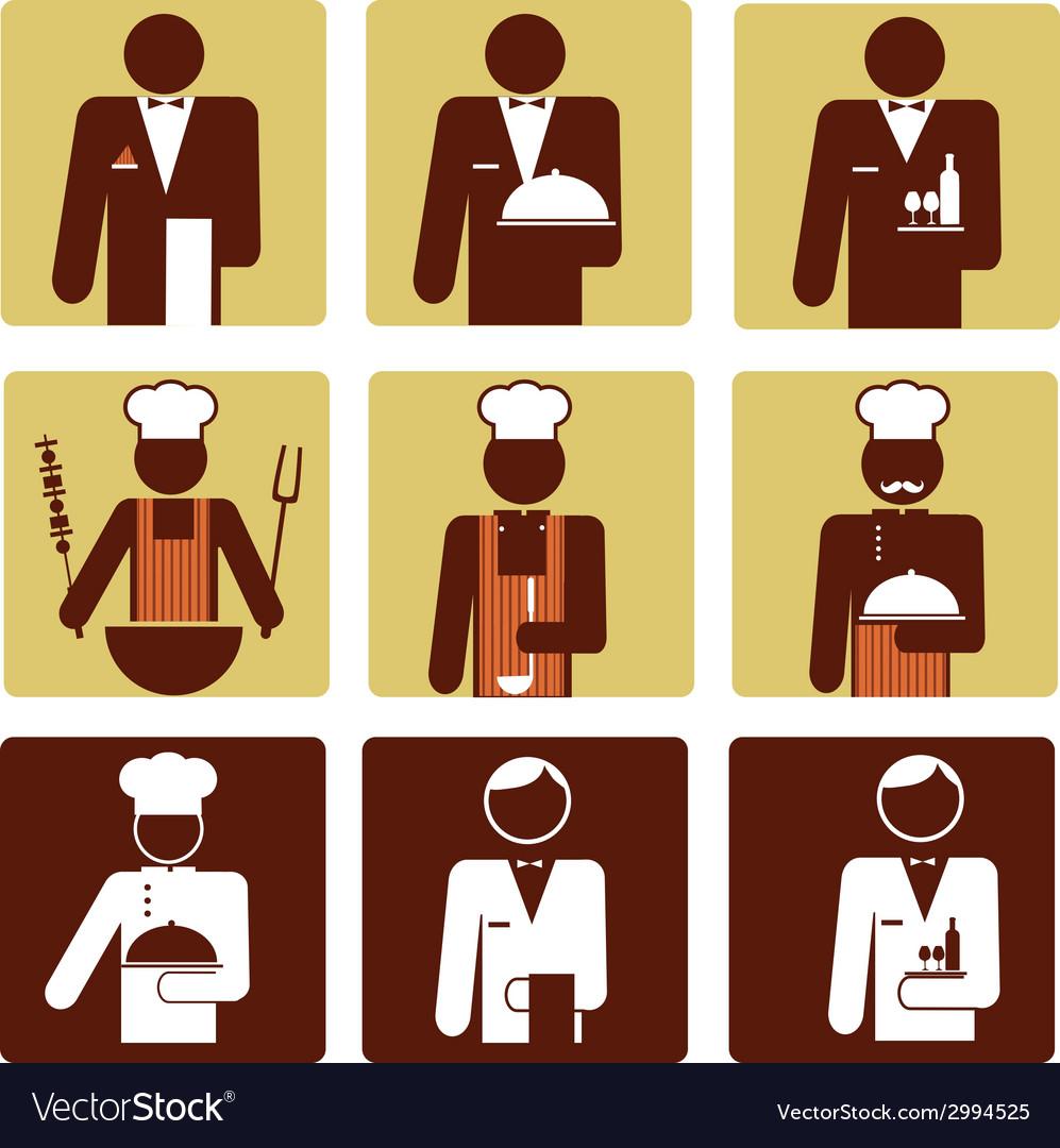 Nine chef and waiter icons