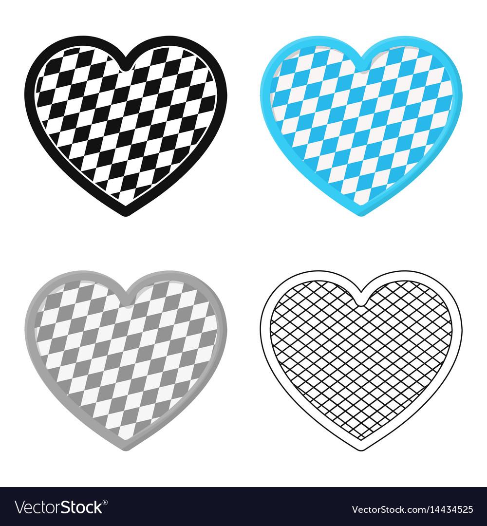 Oktoberfest heart icon in cartoon style isolated
