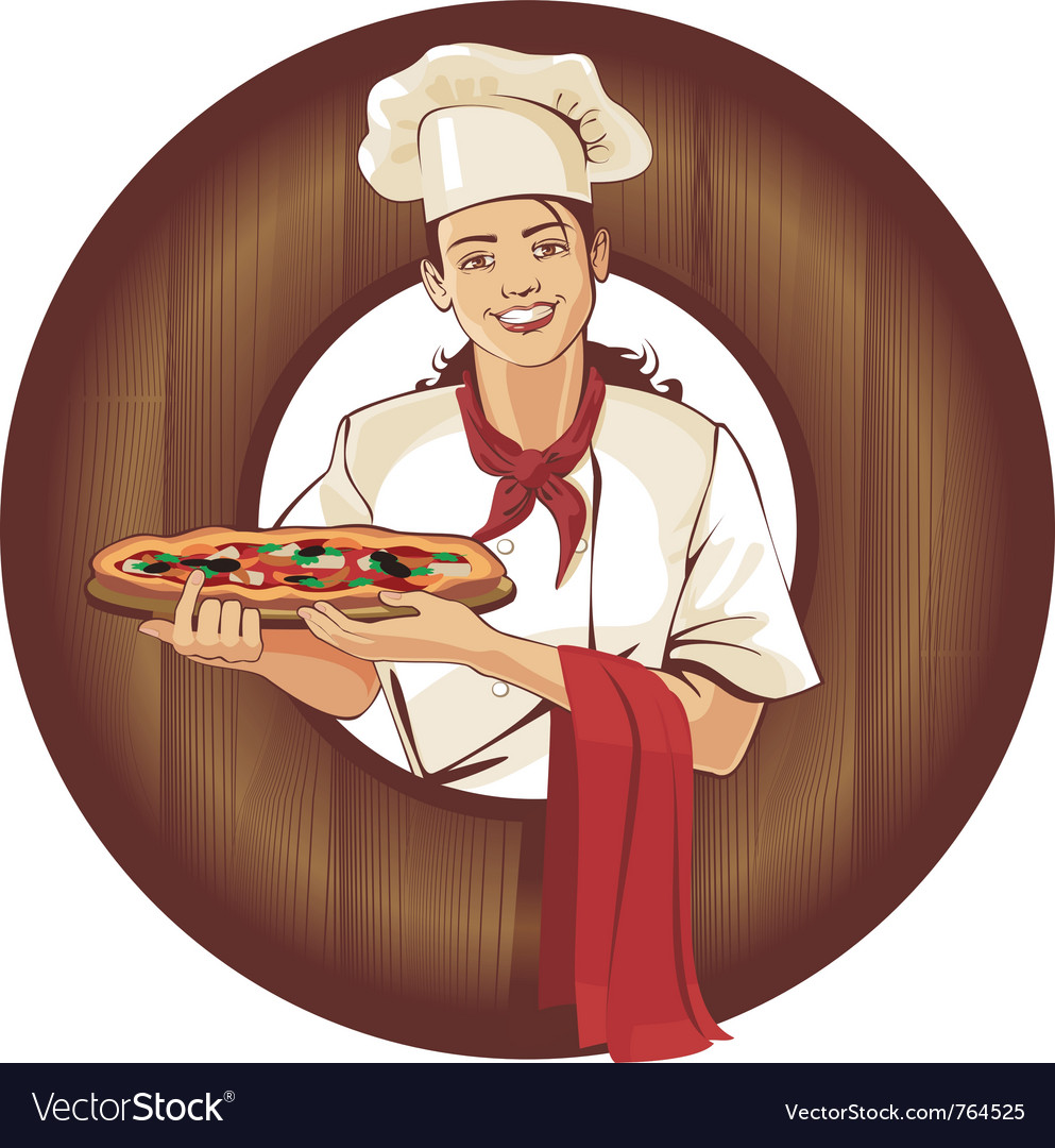 Pizza girl in brown wooden frame