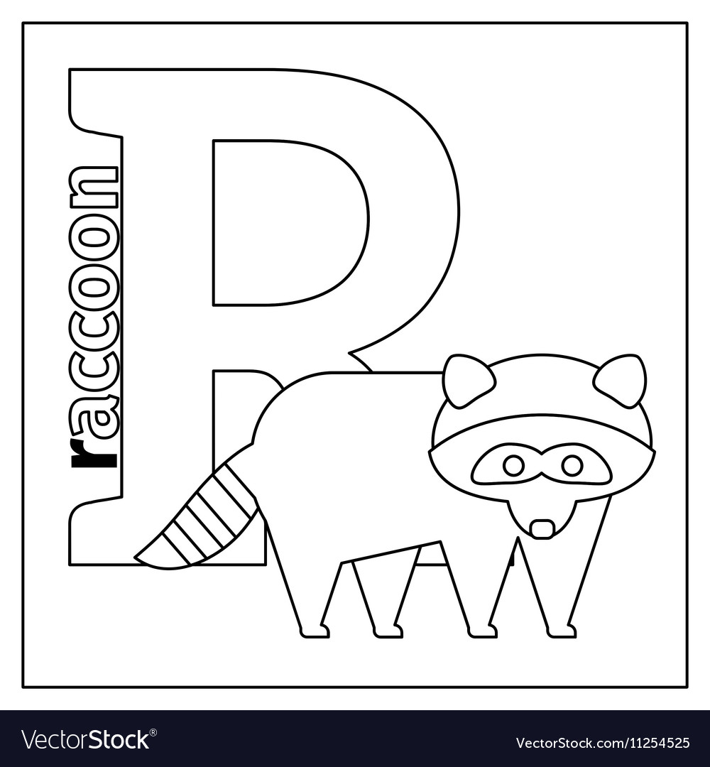Raccoon letter R coloring page