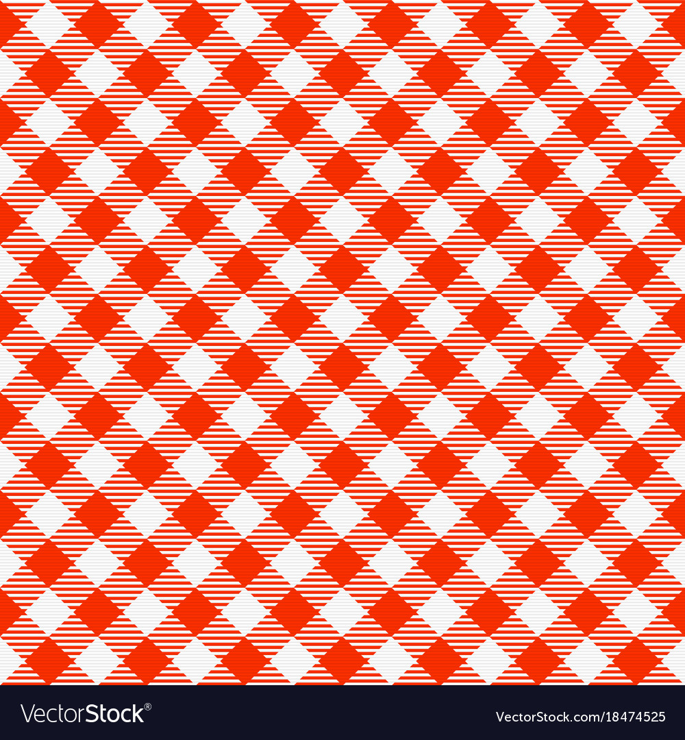 Red and white seamless checkered tablecloth