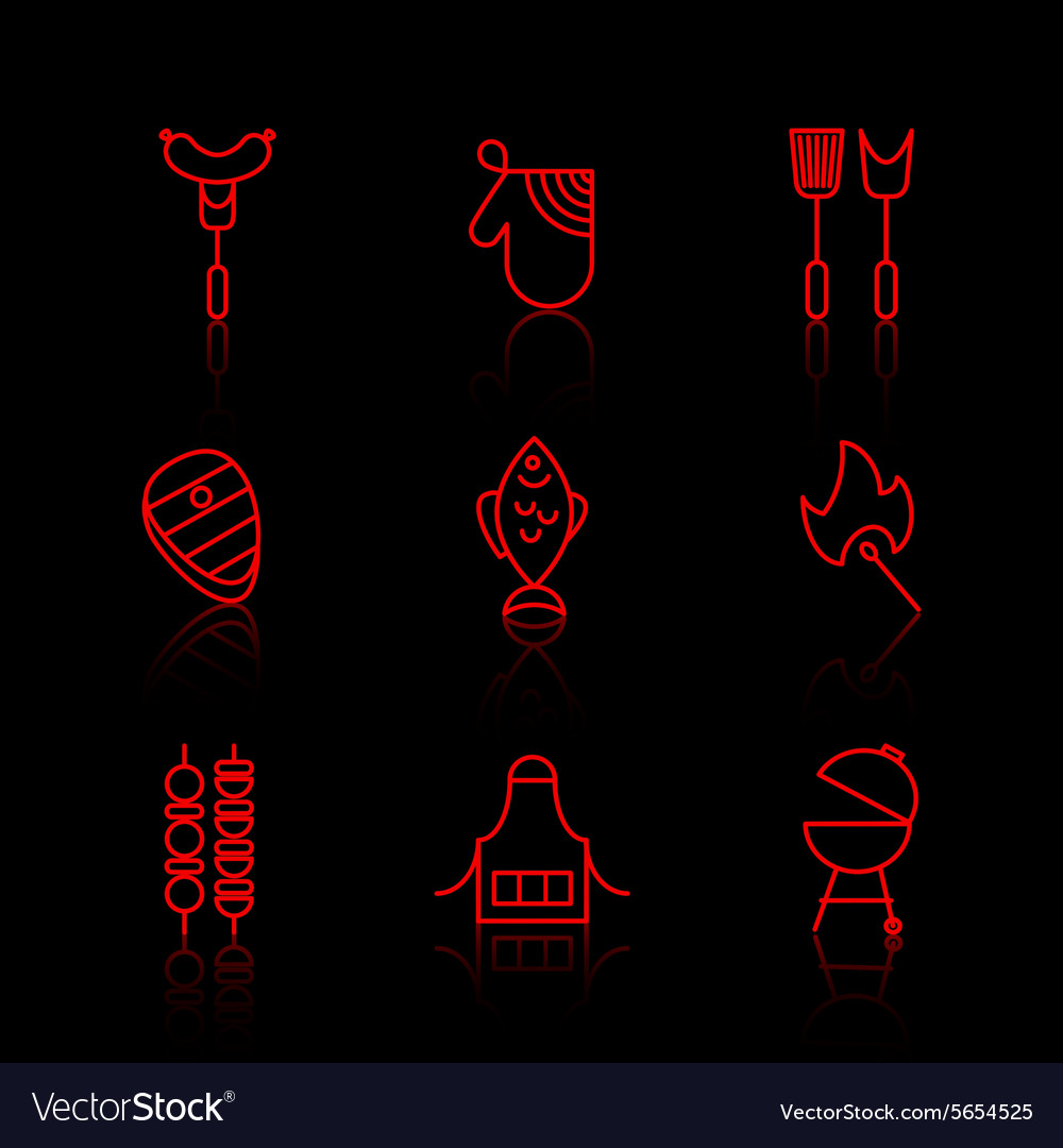 Set of barbecue and grill thin line icons vector image