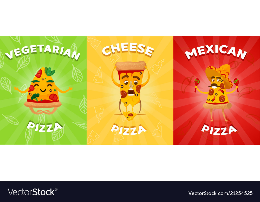Set of flyers or brochure with different pizza