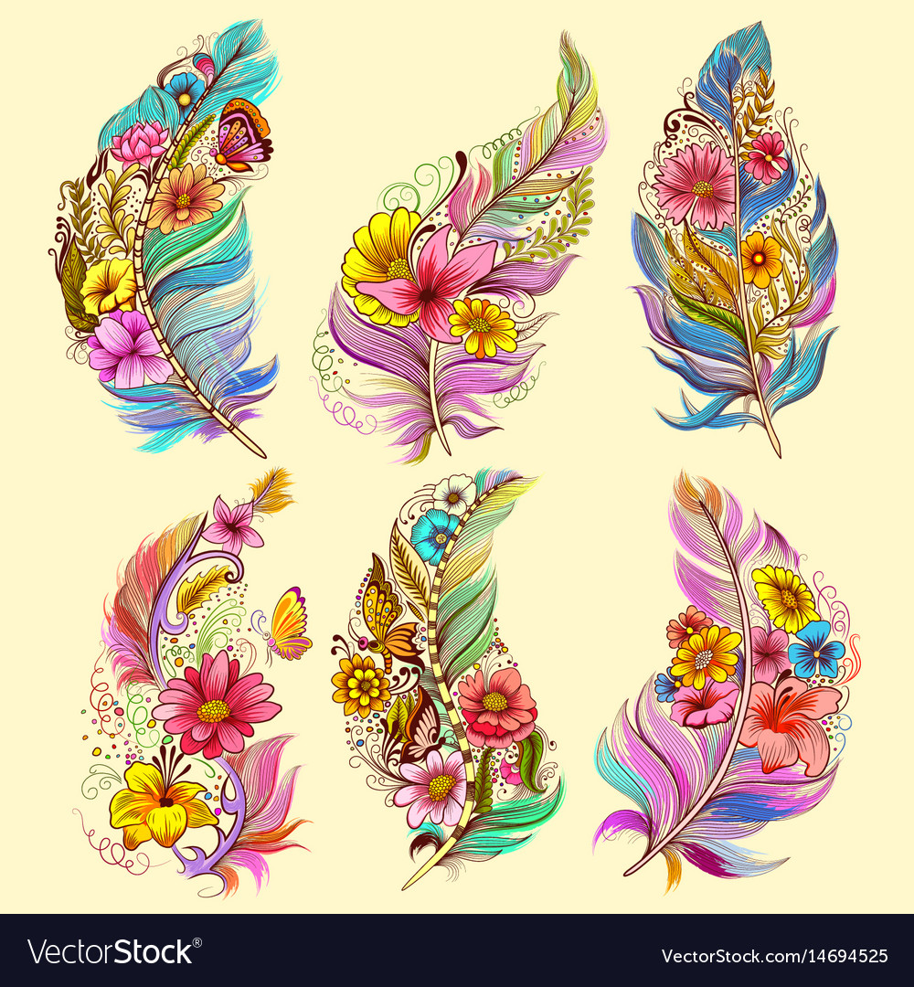 Tattoo art design of floral feather collection