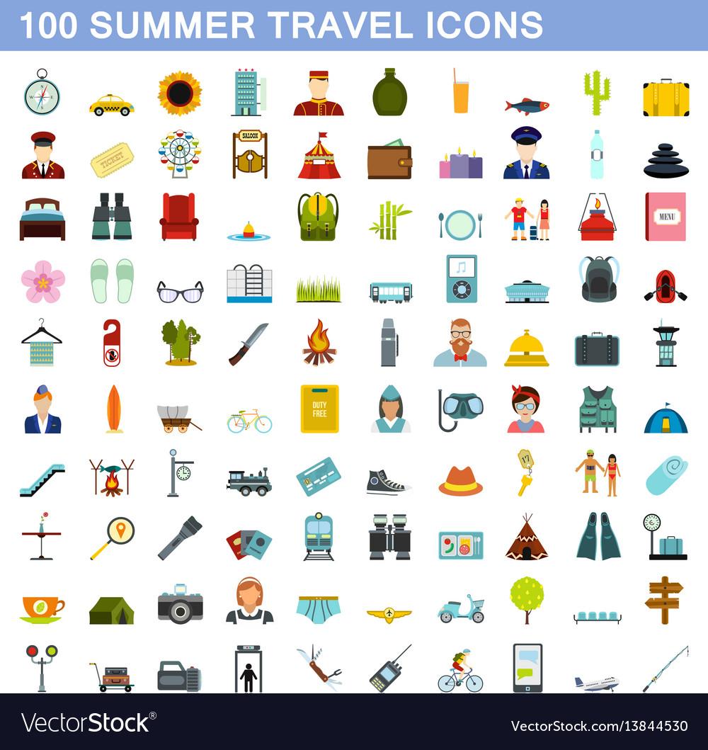 100 summer travel icons set flat style
