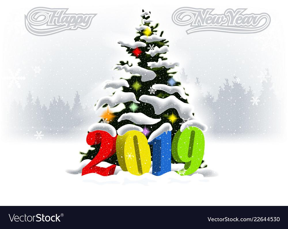 2019 happy new year snowfalling winter landscape