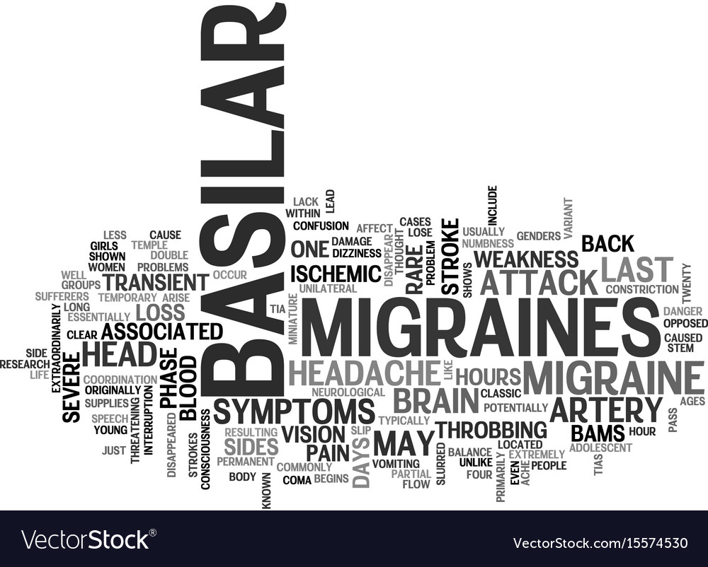 Basilar migraines text word cloud concept vector image