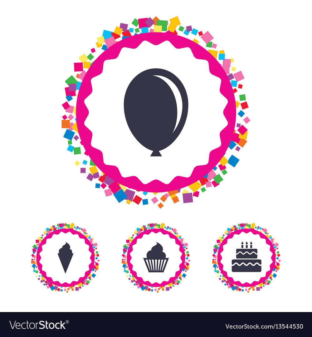 Birthday party icons cake with ice cream symbol