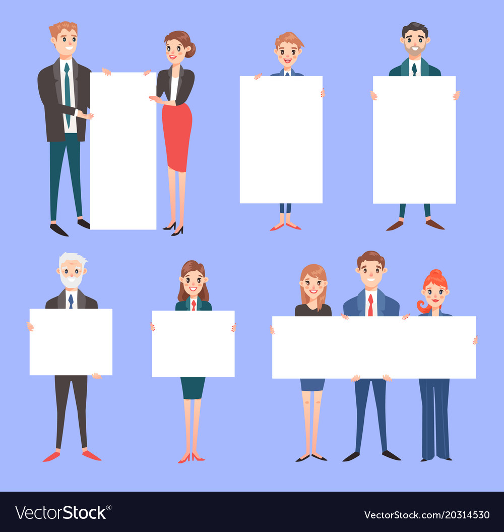 Businessman with banner business people