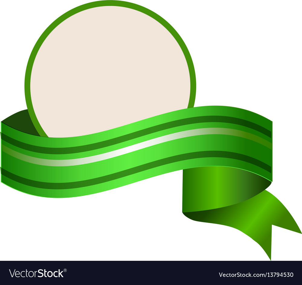 Empty round template wuth relistic green banner vector image