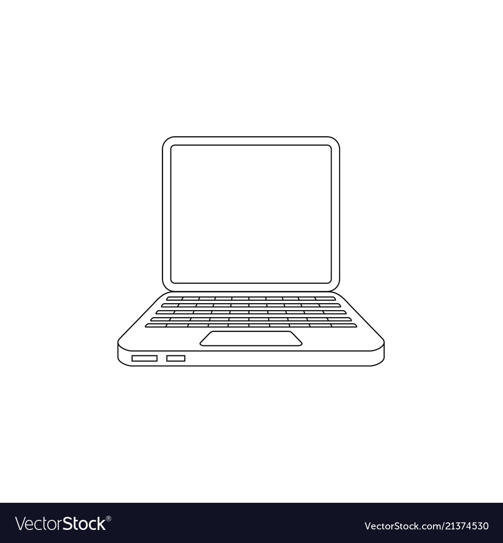 Flat hand drawn laptop computer icon