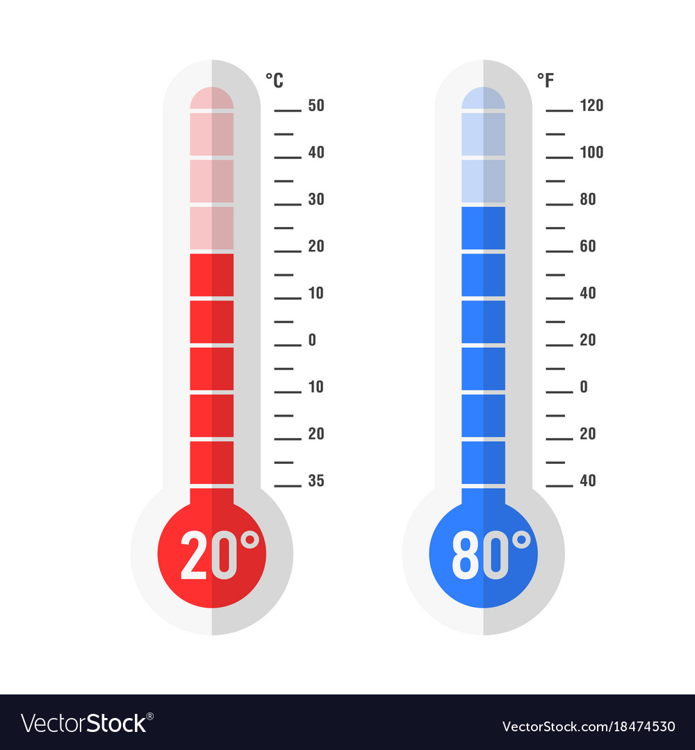 flat style celsius and fahrenheit thermometers vector image