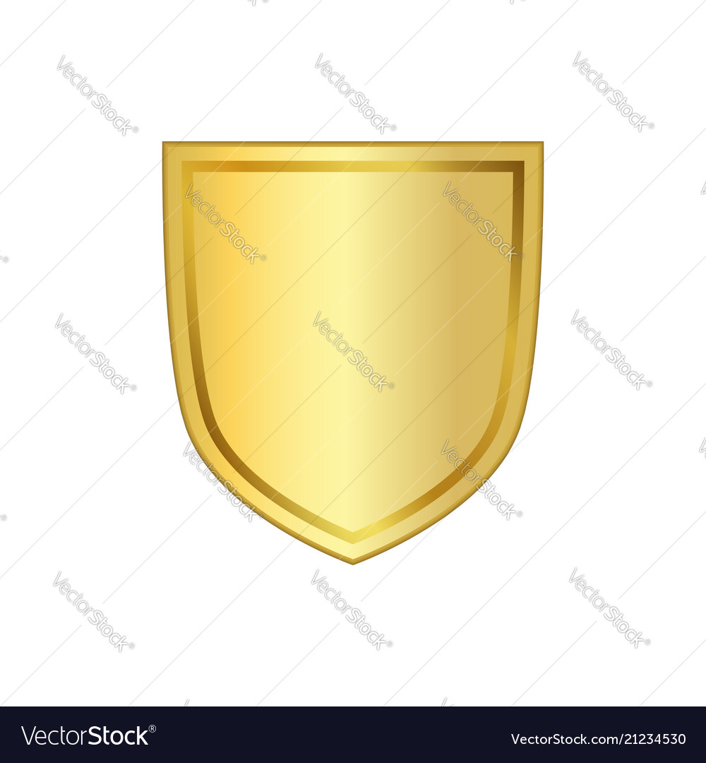 Gold shield shape icon 3d golden emblem sign