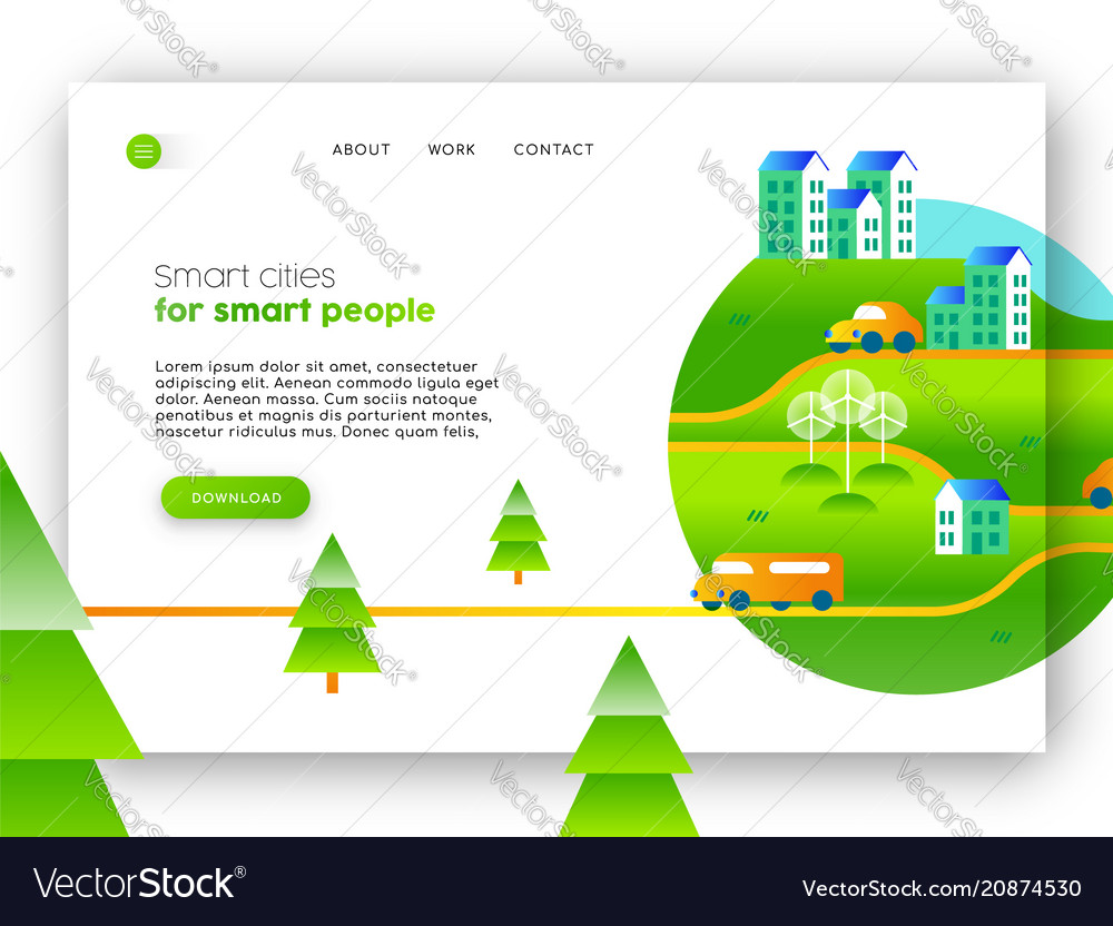 Green city eco friendly web landing page design