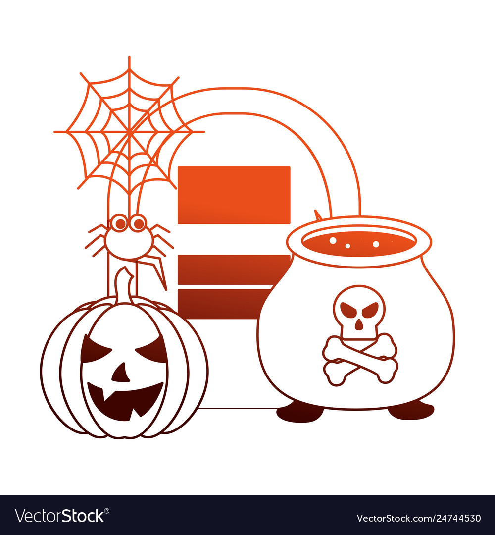 Halloween pumpkin with tomb and set icons