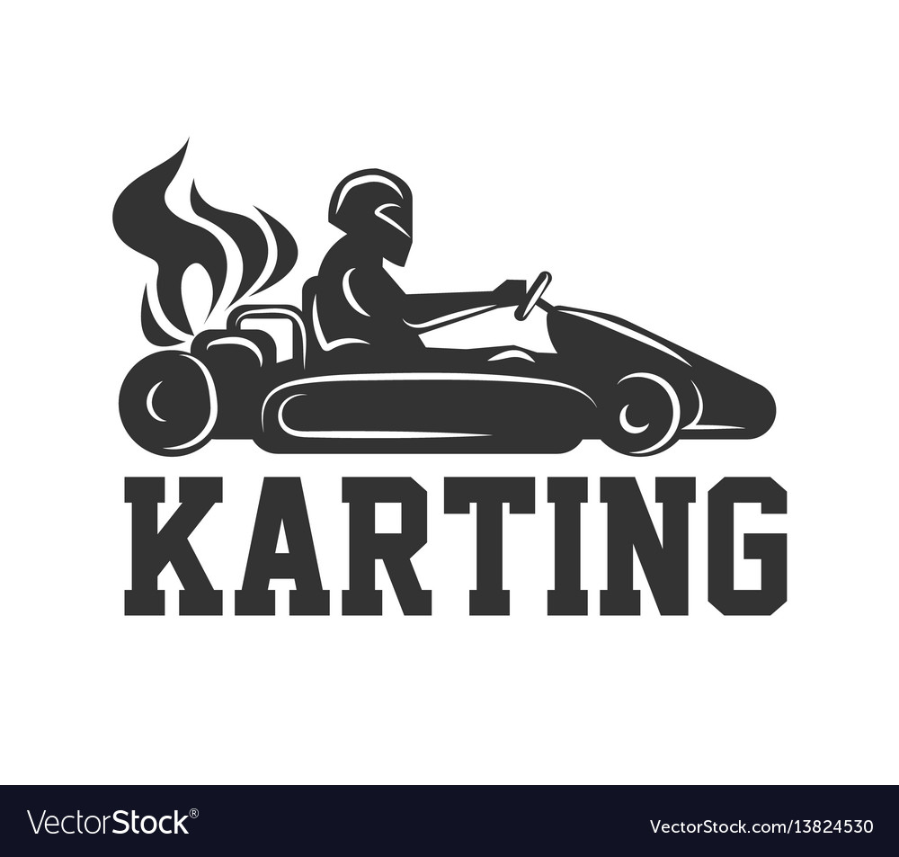 Karting logo racing sport car with driver in vector image