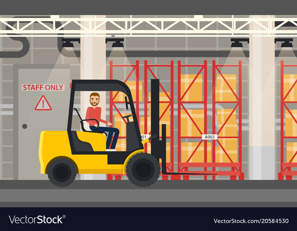 Loader or truck with forklift at warehouse