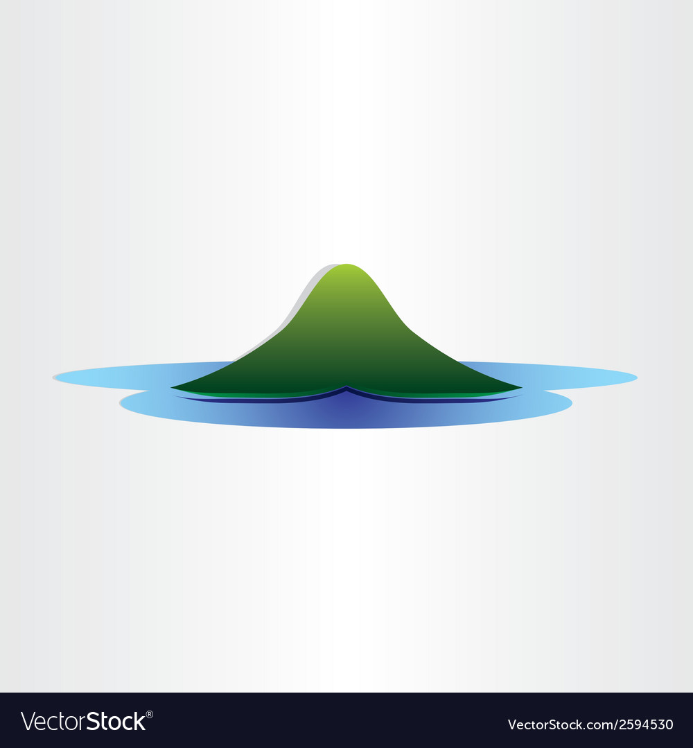 Mountain island in ocean abstract symbol design