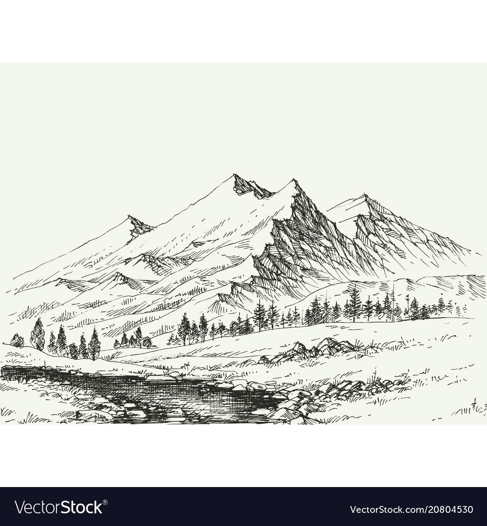 Mountains landscape sketch river flow