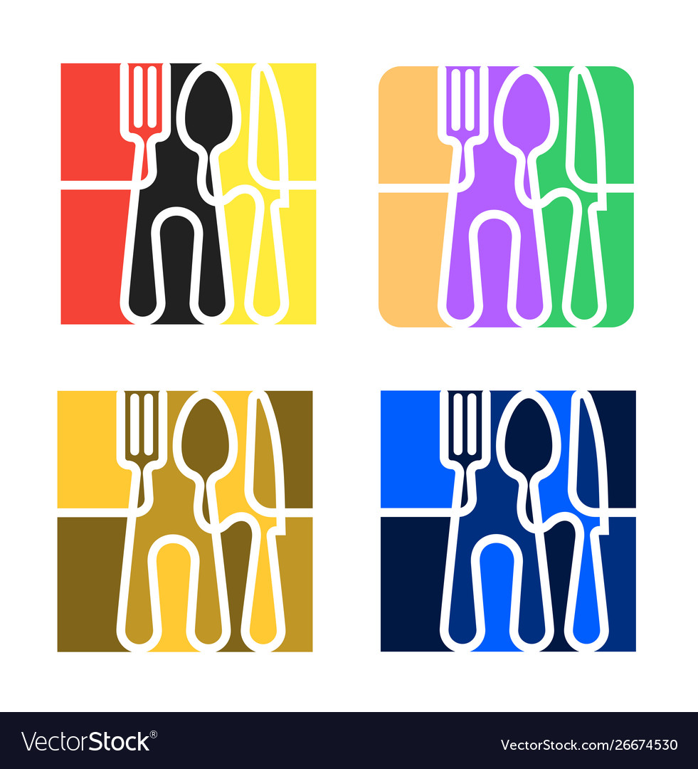 Set logo for cafe or restaurant made forks