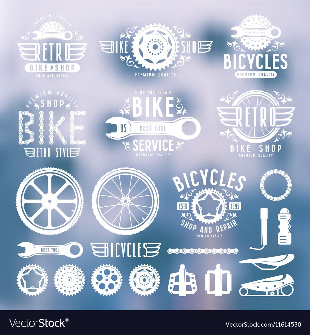 Set of vintage bike shop labels color