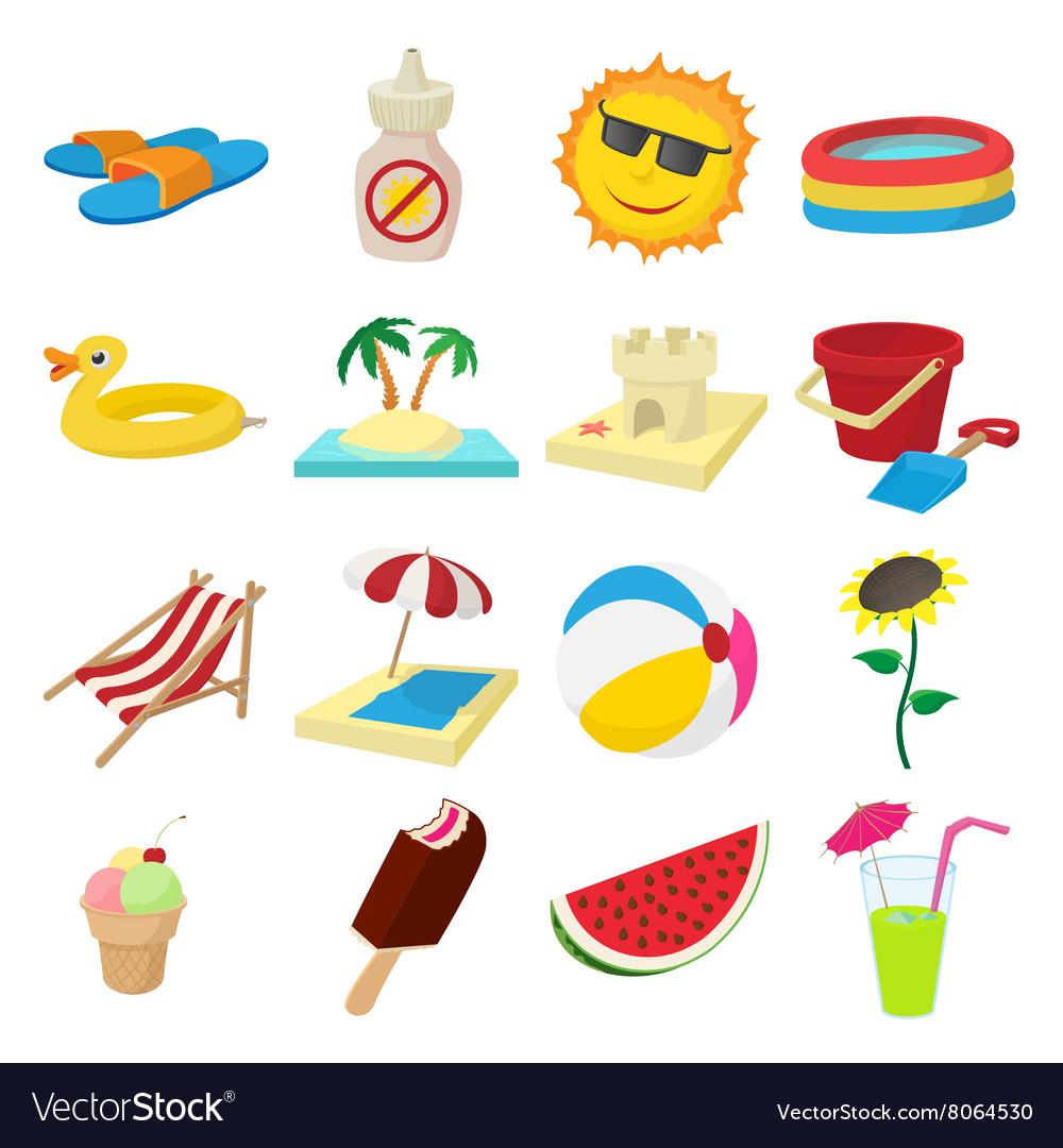 Summer icons set cartoon style