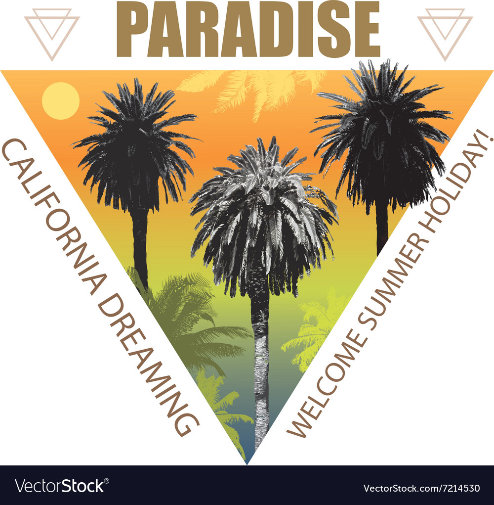 Summer Travel Background with Palms vector image