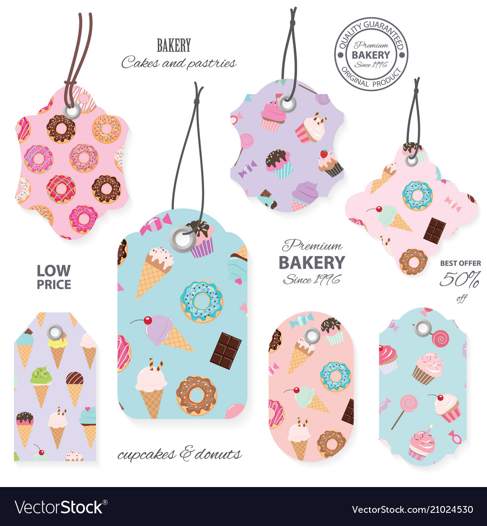 Sweets tag labels isolated on white