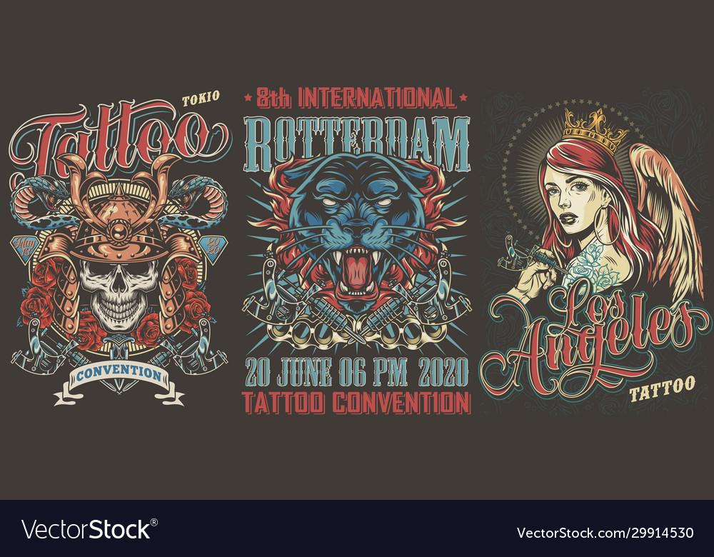 Tattoo festivals vintage posters set