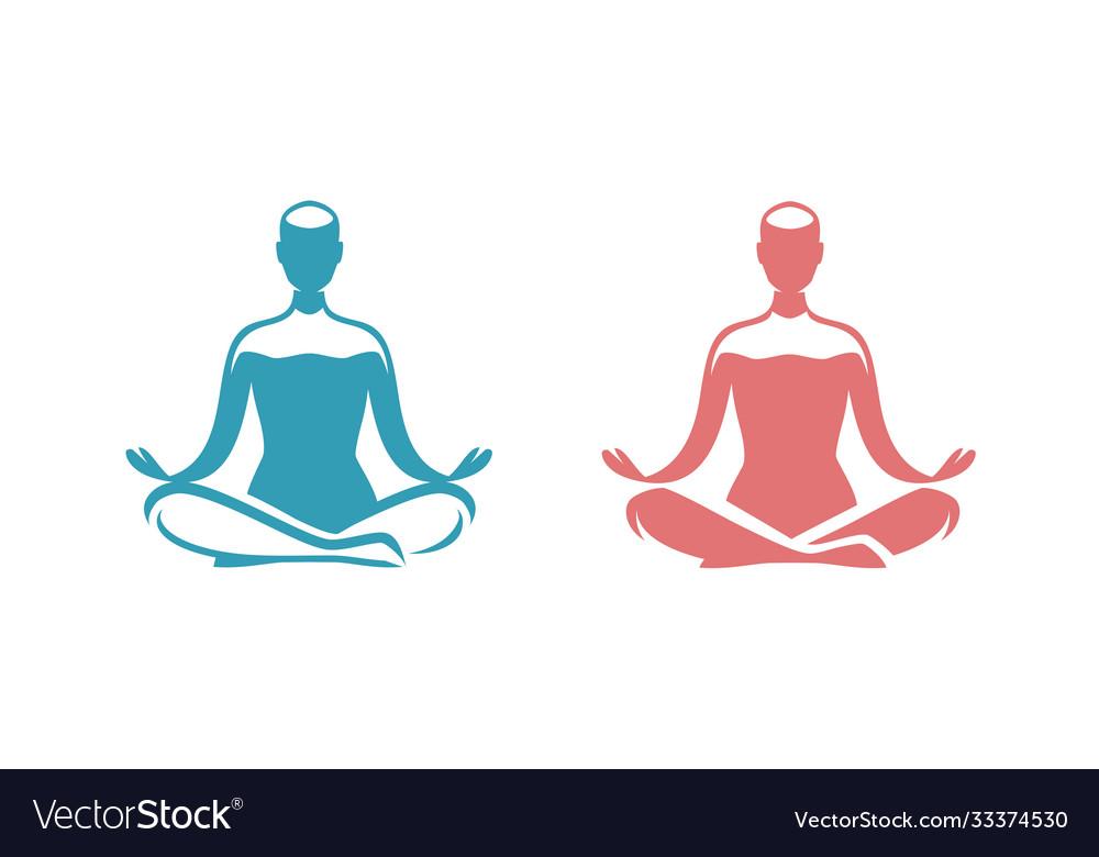 Yoga logo man sitting in lotus position symbol