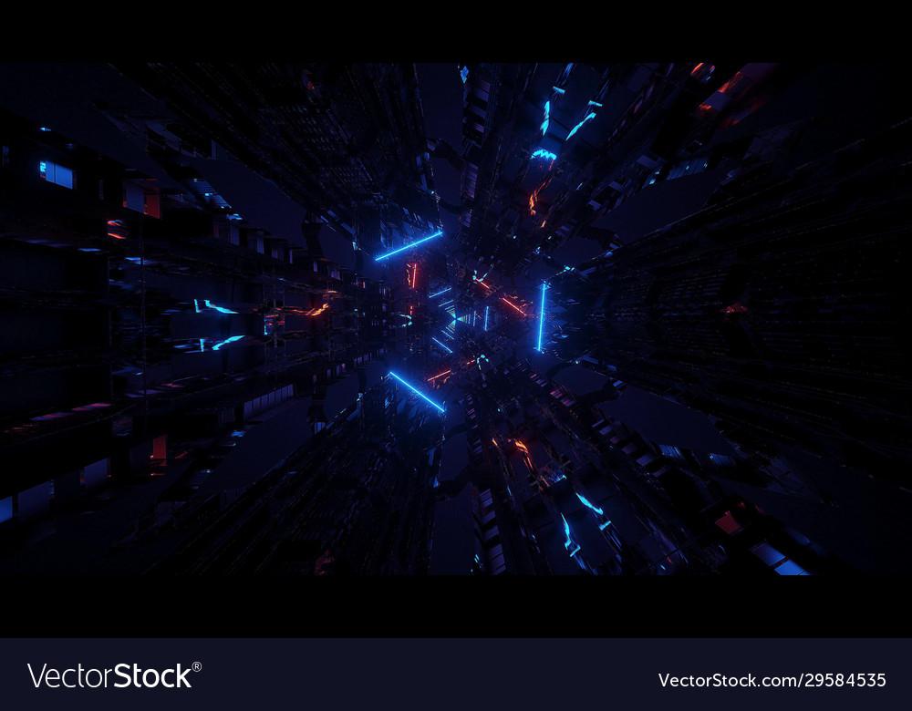 4k Uhd 3d Background Wallpaper Glowing Neon Vector Image