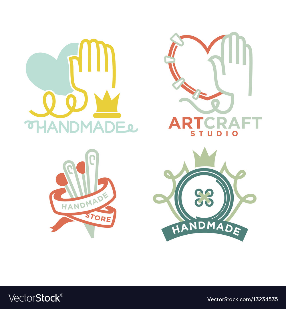 Art And Handmade Craft Logo Templates Flat Set Vector Image