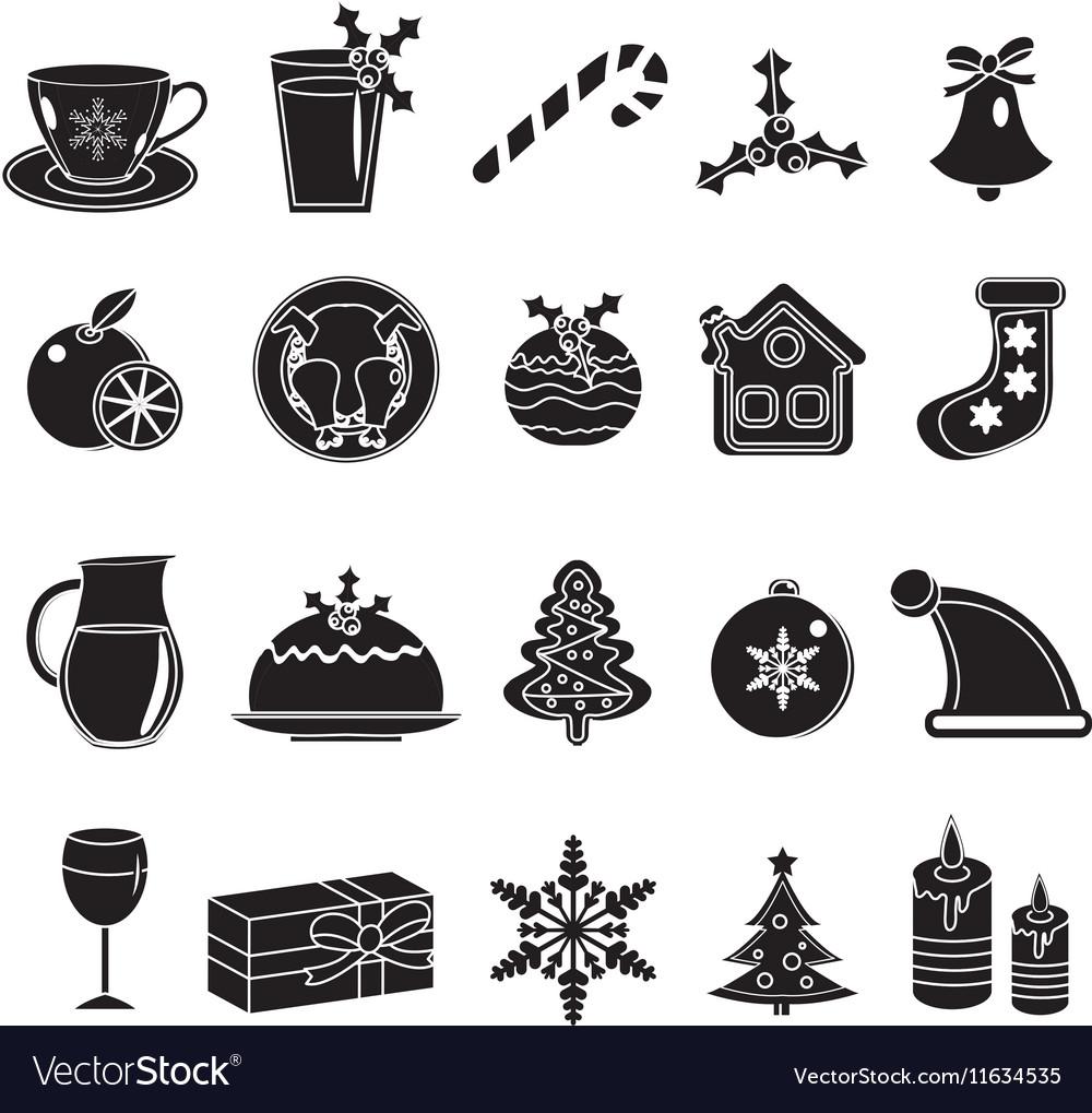Christmas black silhouette icons set of